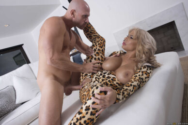 Cougar MILF getting fucked in leopard jumpsuit